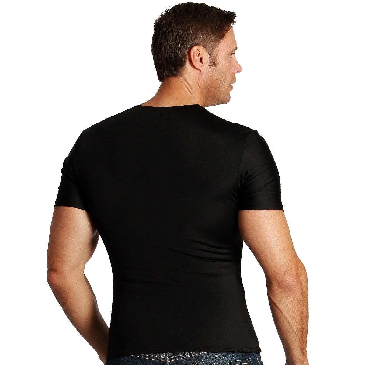 Black Insta Slim Mens Compression Crew-neck T-shirt the Magic is in the Fabric!