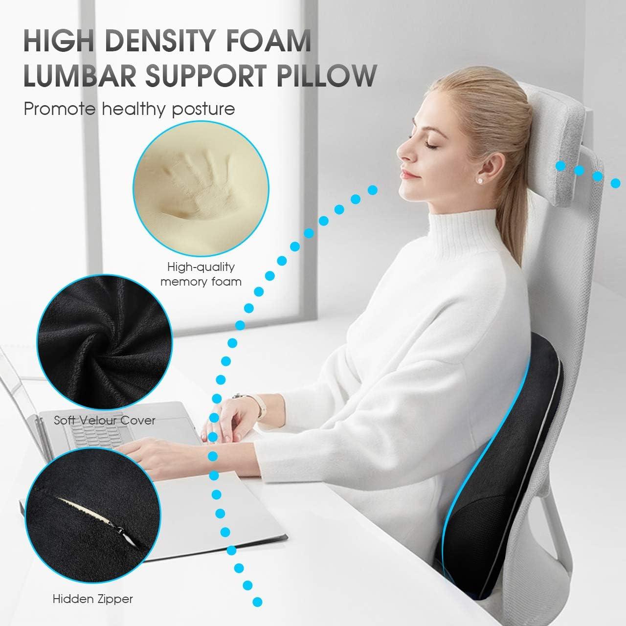 Meets The Ergonomic Memory Foam Lumbar Pillows Breathable 3D Mesh Back Cushion Suitable for Car Seat//Computer Chair//Office Chair and Wheelchair HOKEKI Lumbar Support Pillow Black