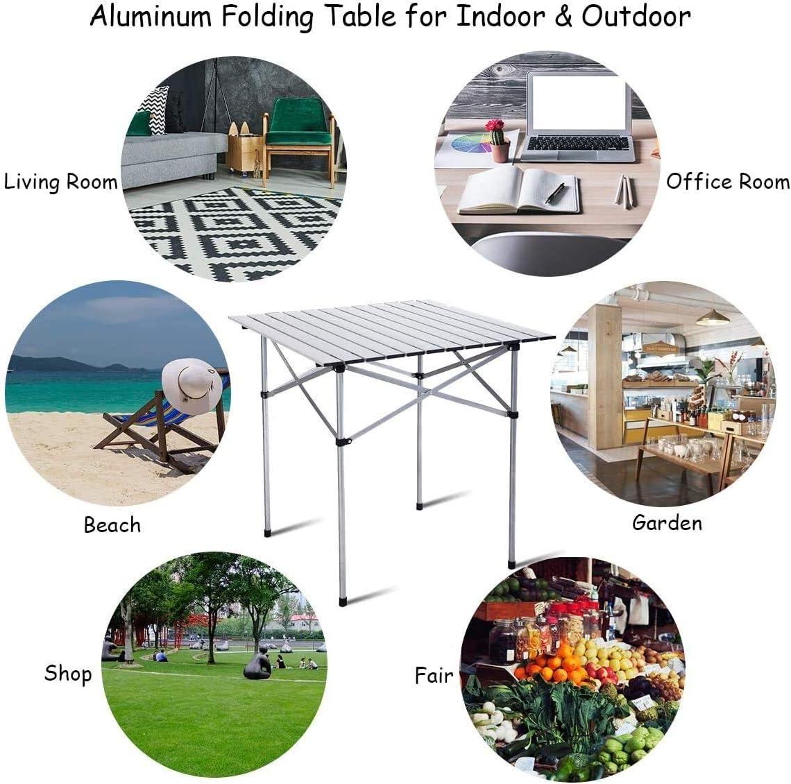 EMPTY Aluminio Rueda for Arriba Mesa Plegable portátil for Trabajo Pesado Comedor de Picnic Camping al Aire Libre con el Bolso: Amazon.es: Hogar