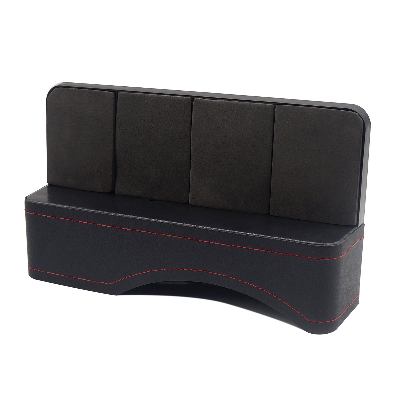 LOCEN PU Leather Console Side Pocket, Car Seat Gap Filler/Organizer/Storage Box (Black)