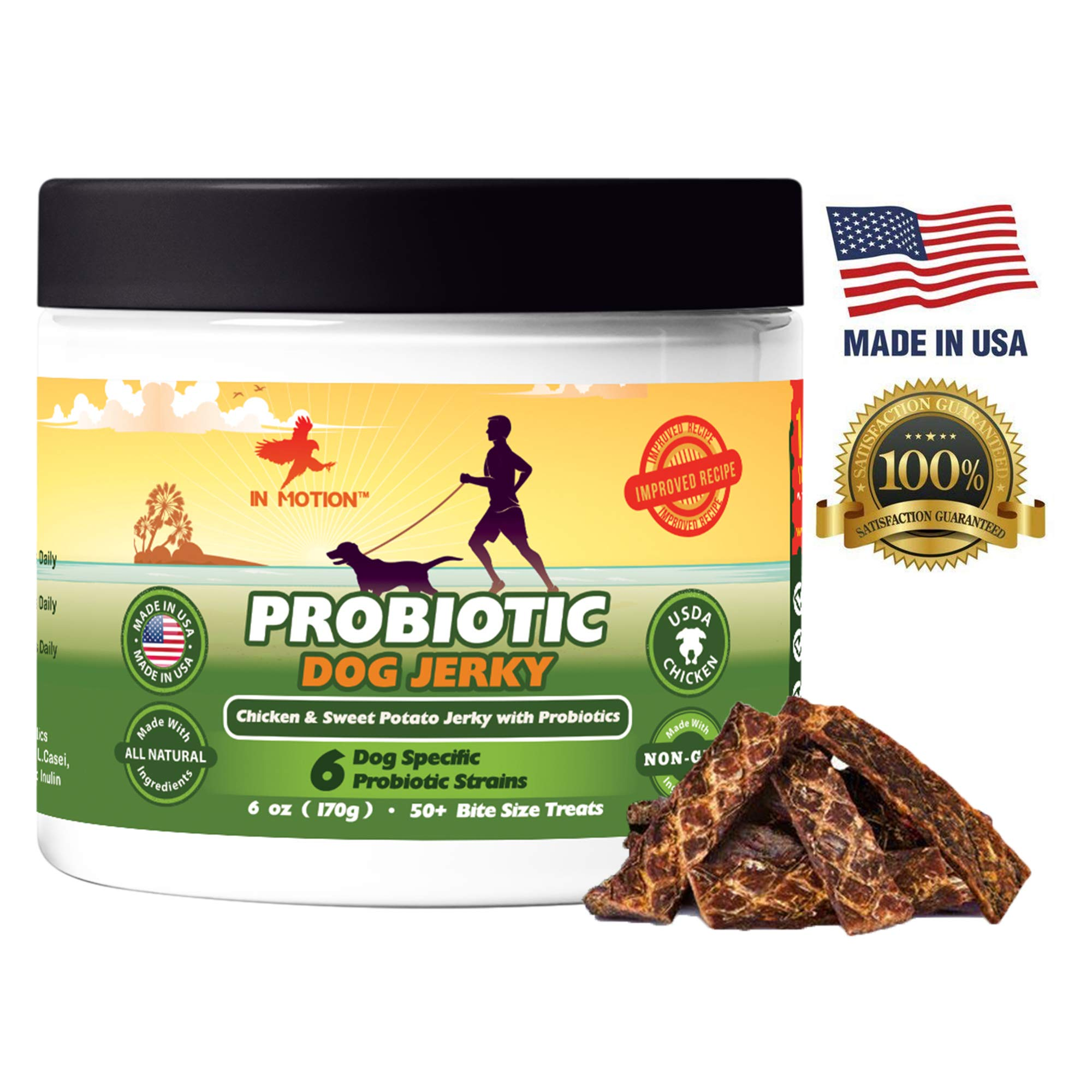 Healthy Dog Treats Probiotic Jerky- All Natural Chicken Sweet Potato Pet Chews and Probiotics Supplement - Chewable Treat for Dogs Best for Pets Wellness, Gas or Diarrhea - Made in USA Only: 6ounces by In Motion