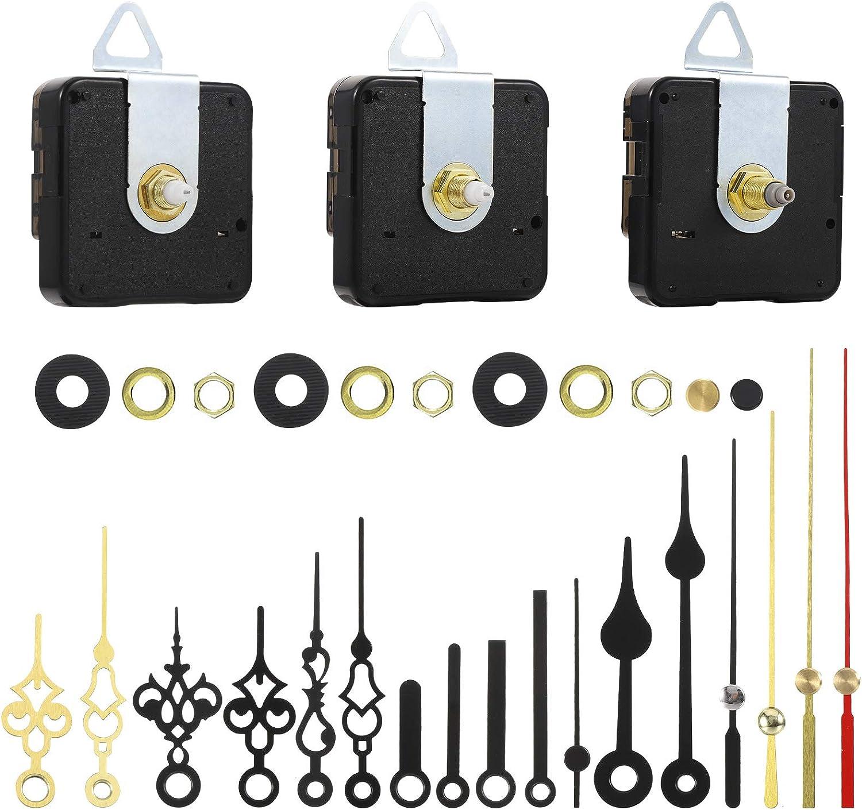 FRIUSATE 3 Piezas Mecanismo Reloj de Pared Mecanismos de Movimiento de Reloj de Cuarzo Maquinaria Reloj Pared para DIY Reparación de Reloj Reemplazo de Piezas con 6 Diferentes Pares de Manecillas