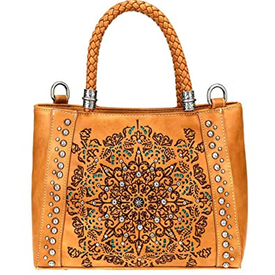 Amazon.com  Montana West Concealed Carry Satchel Crossbody Purse Aztec  Collection Embroidered tribal Pattern MW770G-8014 Brown  Shoes e2e96582592c2