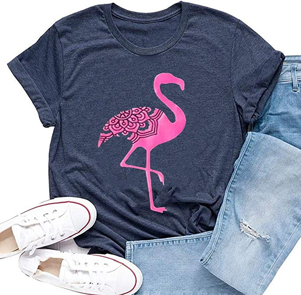 New Women Men Flamingo Plant Print Casual Short Sleeve 3D T-Shirt Tops Tee