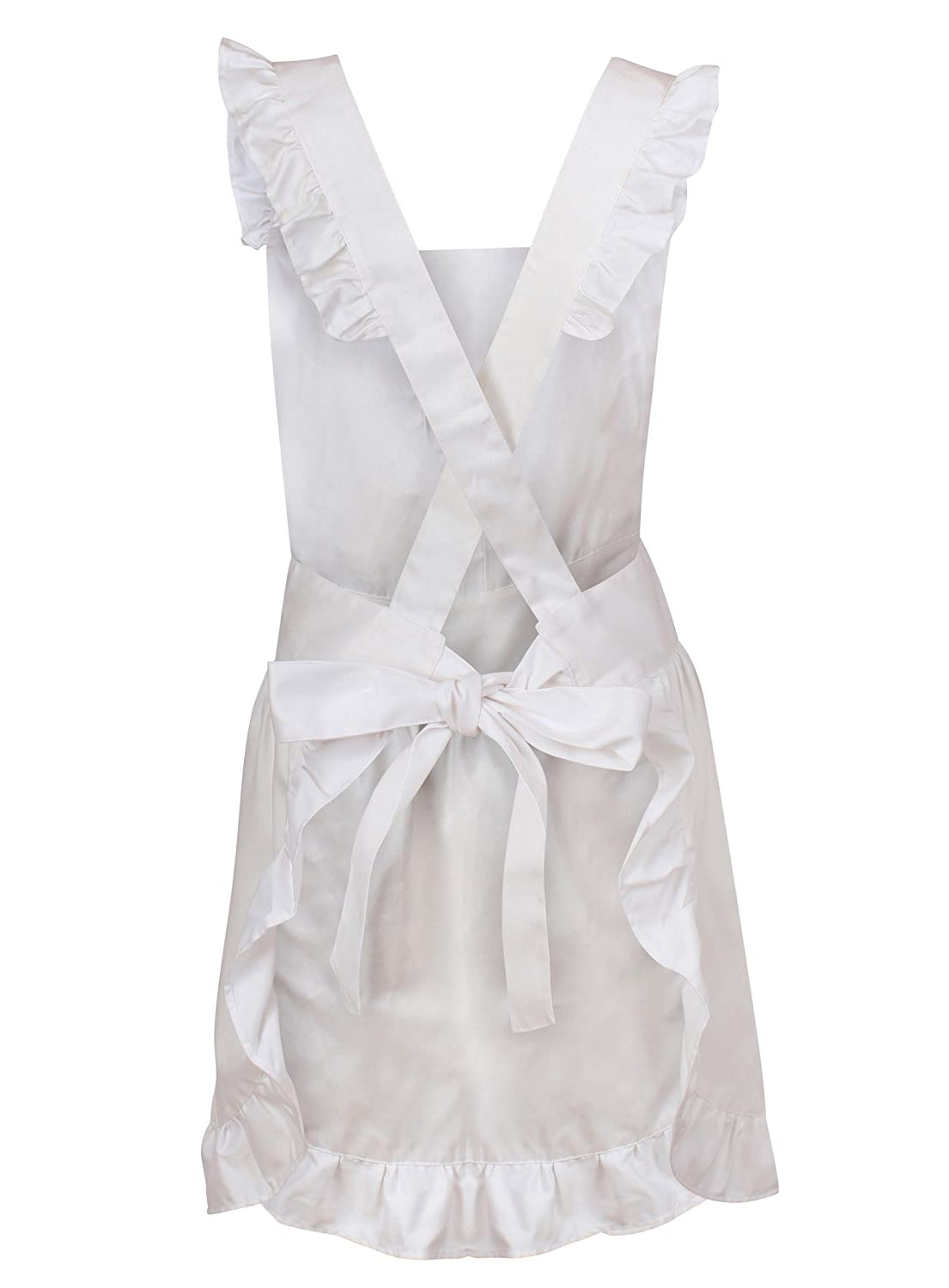 White apron pinafore - White Frilly Pinafore Apron For Baking Victorian Waitress Downton Maid Costume With Mop Cap Attractive Design With Adjustable Sizing Quality Easy Care