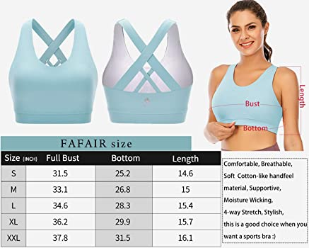 FAFAIR Structured Sports Bras for Women Running Padded Workout Bras Colored Crossback Yoga Top Medium Support