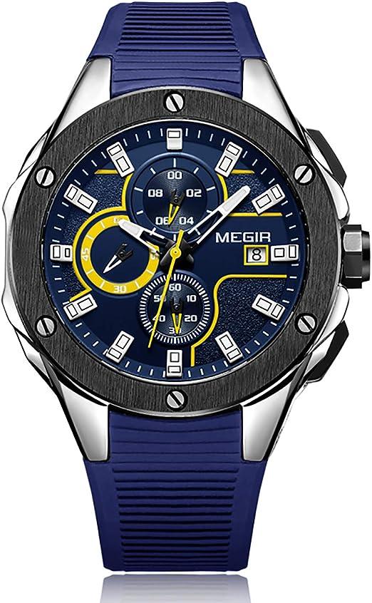 Megir Montre de Sport Lumineuse pour Homme avec Bracelet en Silicone Bleu Grand chronographe Calendrier étanche