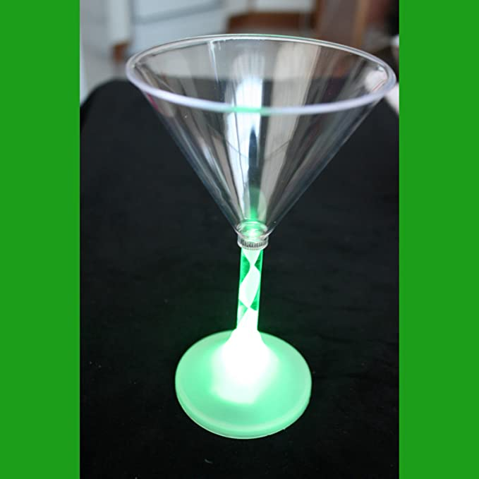 LED Light Up BLINKING MARTINI COCKTAIL GLASS Color Flashing Tiki Bar Party Drink