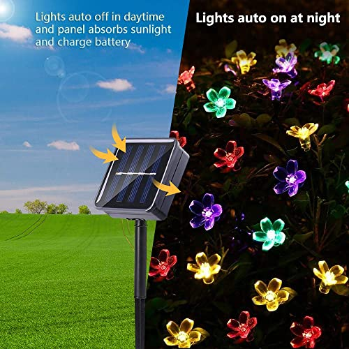 Joomer 2 Pack Outdoor Solar Flower String Lights Waterproof 22ft 50 LED Fairy Light Decorations for Christmas Tree Garden Patio Fence Yard Spring Multi-Color