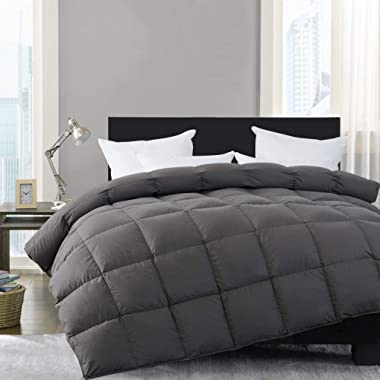 HOMBYS Super King White Down Comforter Goose Feather Oversize King Duvet Insert 116 x 108 Hypoallergenic 100% Cotton Cover Down Proof with Corner Tabs(Gray Super King-116  x 108 )-Down Comforter