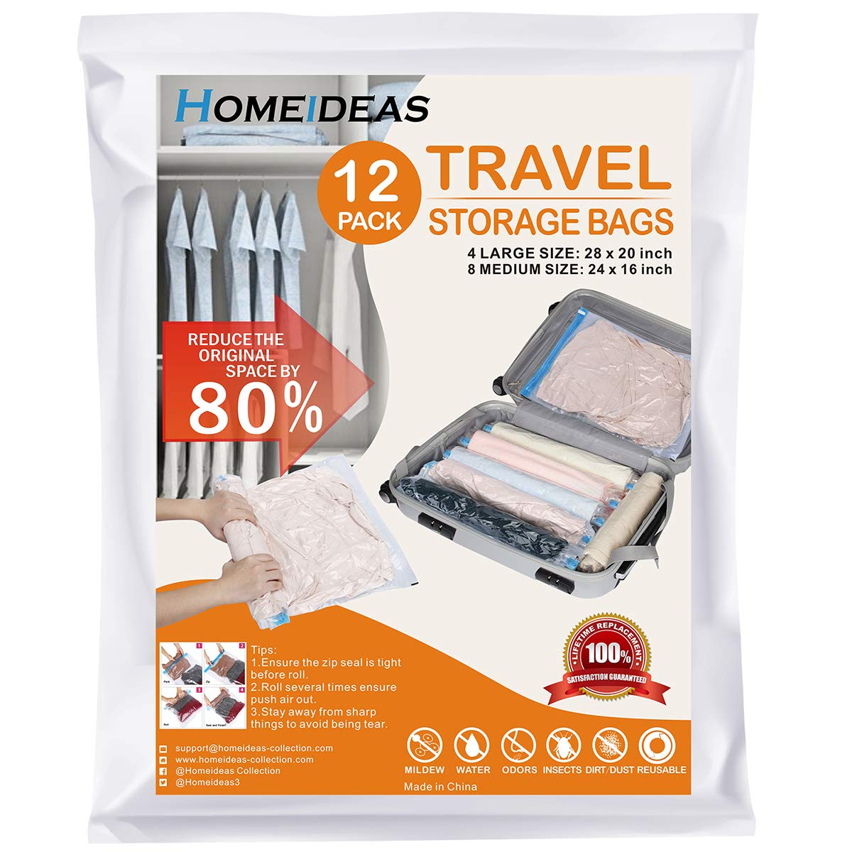 HOMEIDEAS 12 Travel Space Saver Bags - Roll up Storage Bags for Clothes - Compression Bags for Travel - No Vacuum Needed - Save Space in Your Luggage (4 x Large, 8 x Medium)