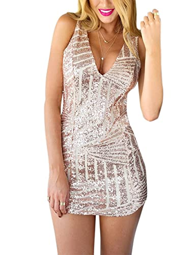 Grapent Women's Sequin Deep V Neck Sleeveless Club Party Bodycon Mini Dress