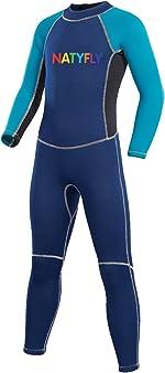NATYFLY Kids Wetsuit, 2mm Neoprene Thermal Swimsuit, Full Wetsuit for Girls