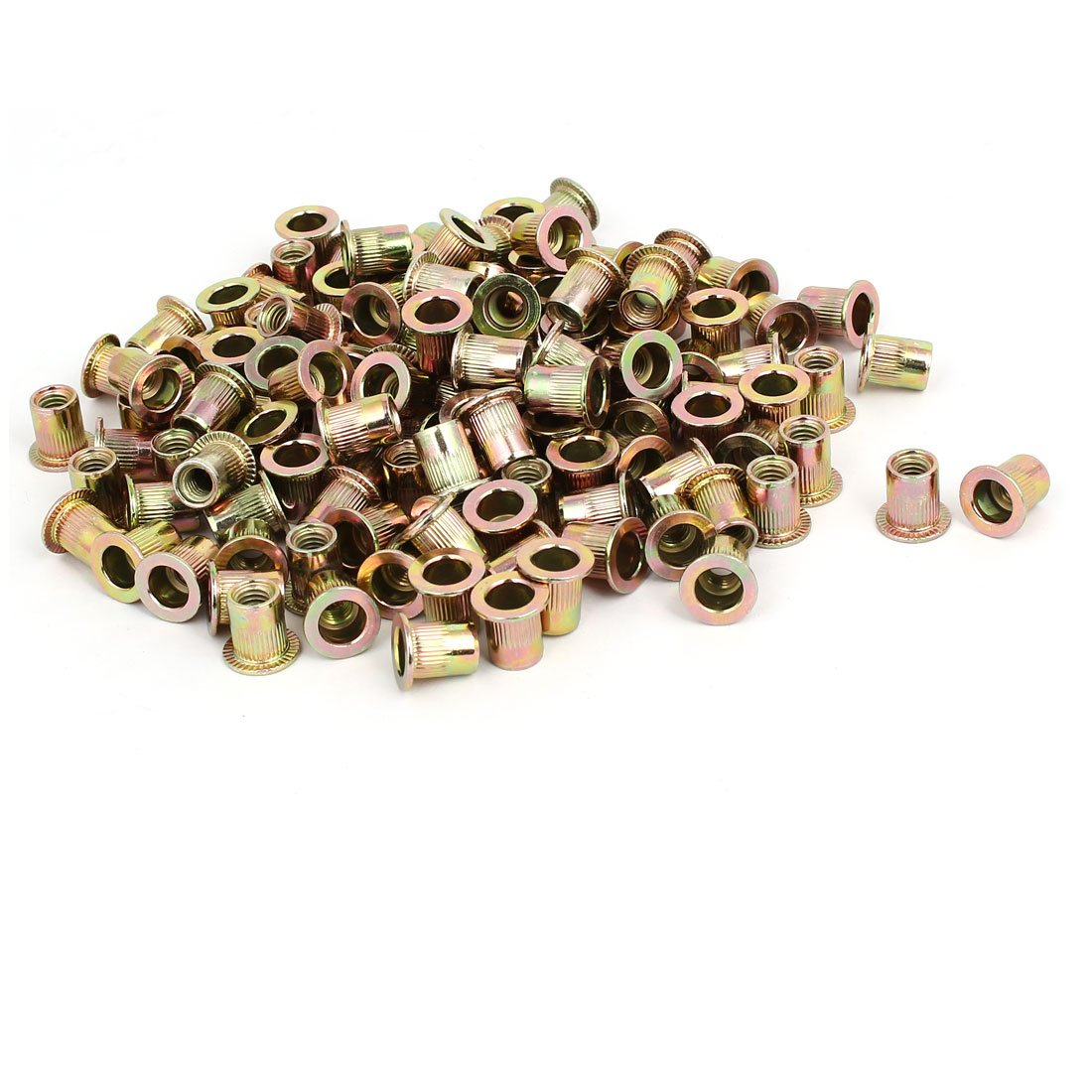 uxcell M6x12mm Zinc Plated Knurled Flat Head Rivet Nuts Insert Nutsert Bronze Tone 130pcs