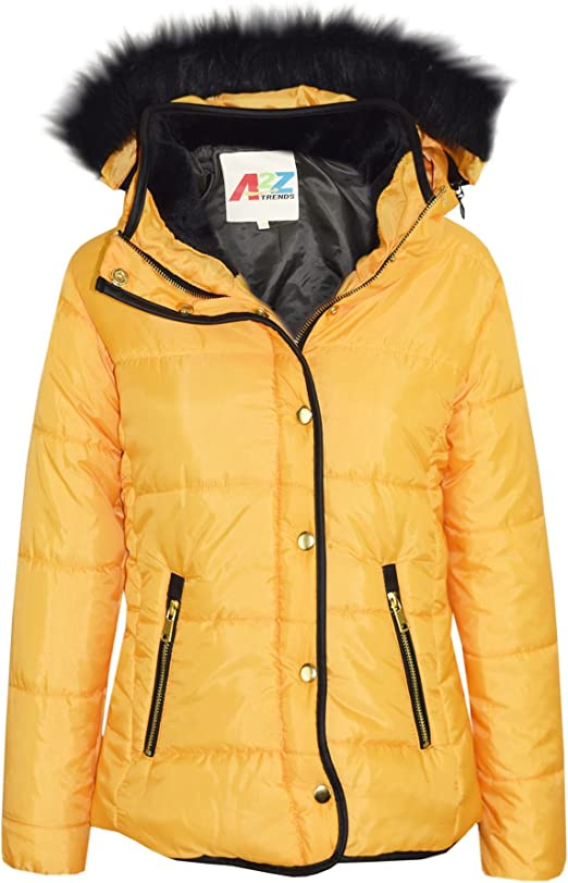 Girls Jacket Kids Padded Puffer Bubble Fur Collar Quilted Warm Thick Coat 3-13Yr