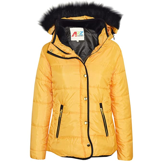 54d64e6ec Girls Jacket Kids Padded Puffer Bubble Fur Collar Quilted Warm Thick Coats  3-13Y Mustard
