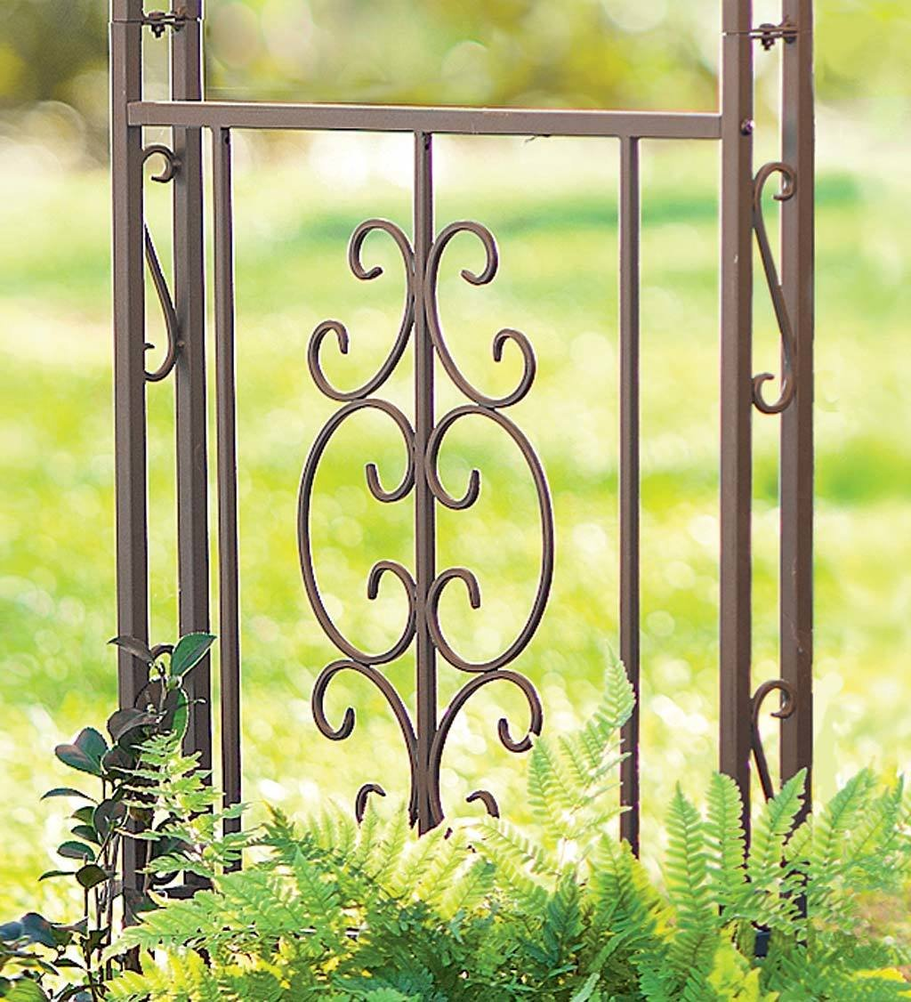 Montebello Decorative Garden Arbor Trellis, Scroll Design, Tubular Iron Structure with 7-Inch Ground Stakes, 53 W x 23 D x 84 H Burnished Bronze Finish by Plow & Hearth
