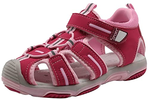 c303b73bff8 Apakowa Kids Girls Soft Sole Closed Toe Sandals Summer Shoes with Arch  Support (Toddler