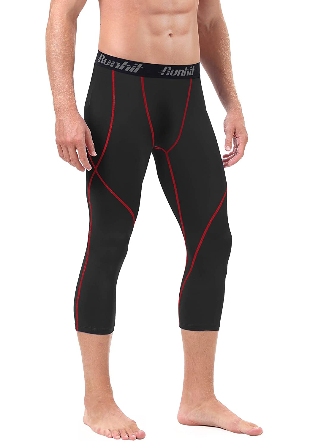 b8afc8203e893 Amazon.com: Runhit Mens 3/4 Compression Leggings Pants Capri Shorts  Baselayer Cool Dry Sport Tights: Clothing