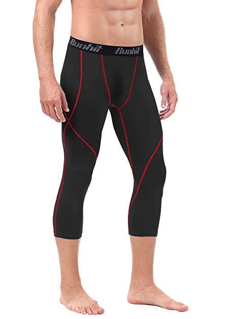 Runhit Mens 3/4 Compression Leggings Pants Capri Shorts Baselayer Cool Dry Sport Tights