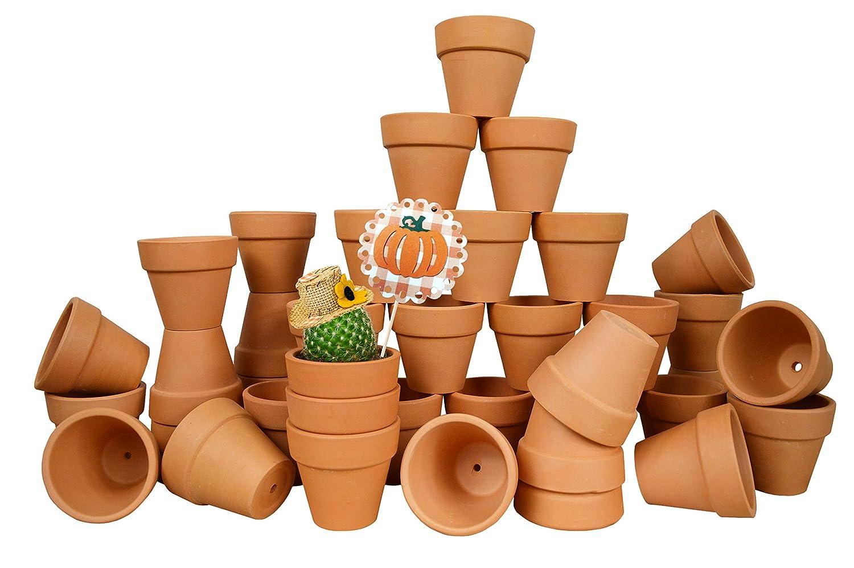 My Urban Crafts 40 Pcs Small Mini Clay Pots 2.1 inch Mini Terracotta Pots Clay Ceramic Pottery Planter Cactus Flower Pots Succulent Nursery Pot Great for Indoor Outdoor Plants, Crafts, Wedding Favors