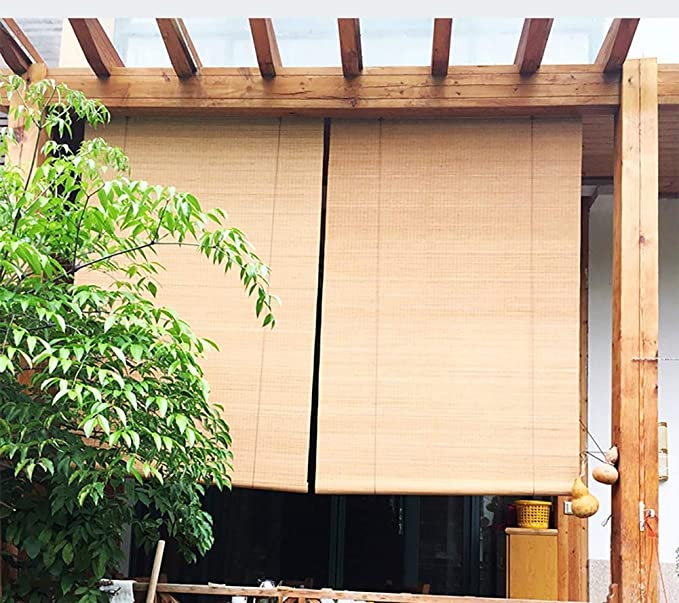 FF Estores enrollables Persianas Enrollables Exteriores para Garajes De Porche De Pérgola Al Aire Libre, Sombrillas De Madera Opacas con Gancho, 80/100/120/130/140 Cm De Ancho (Size : 80×80cm): Amazon.es: Hogar
