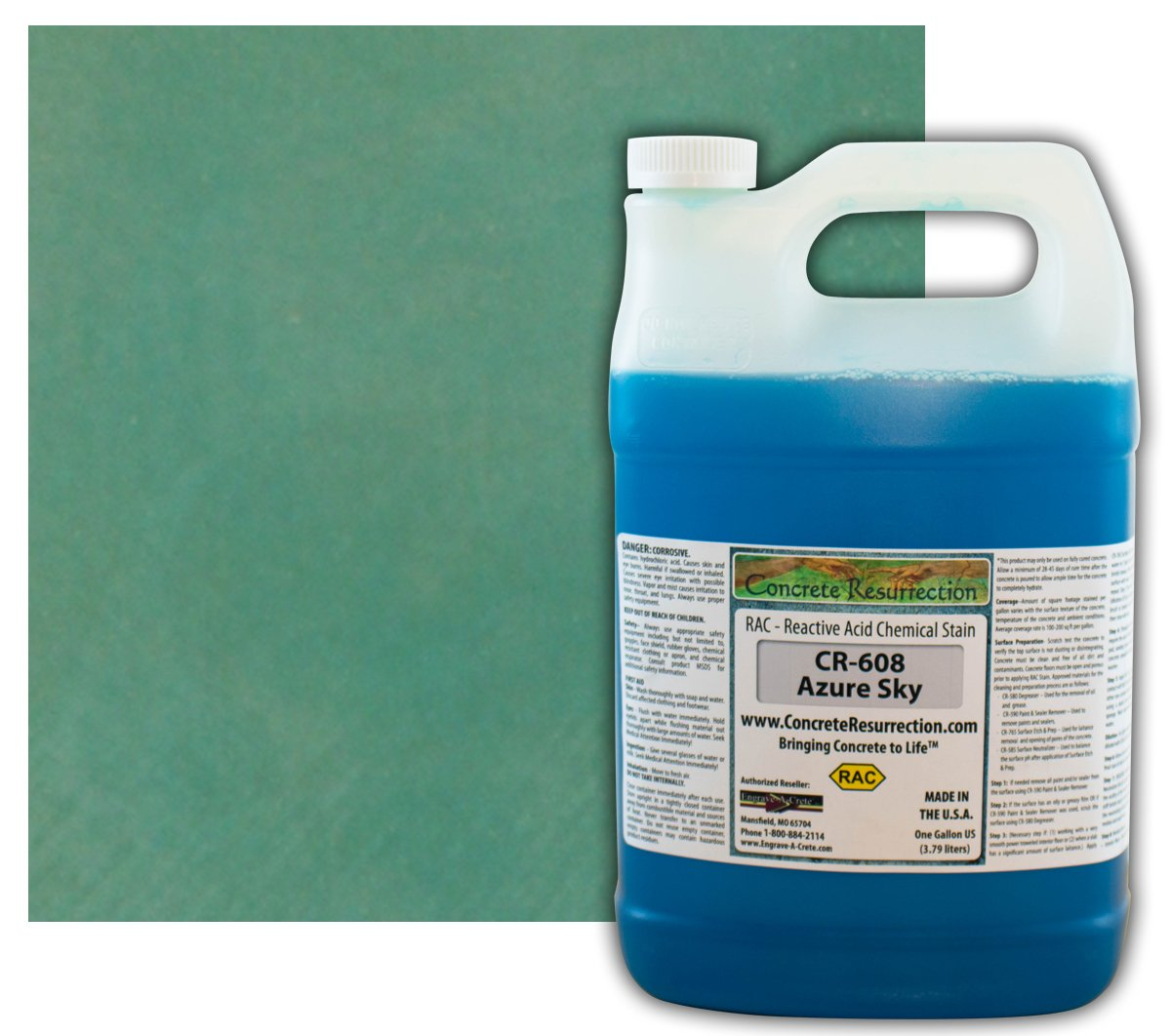 Concrete Stain Professional Easy to Use Acid Stain Azure Sky - 1 Gallon Concrete Resurrection