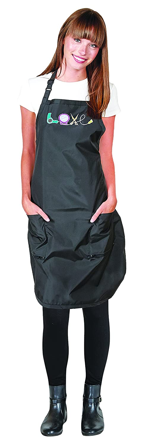 Betty Dain Embroidered Love Salon Stylist Apron, Black/Multi Betty Dain Creations Inc. 281BLK