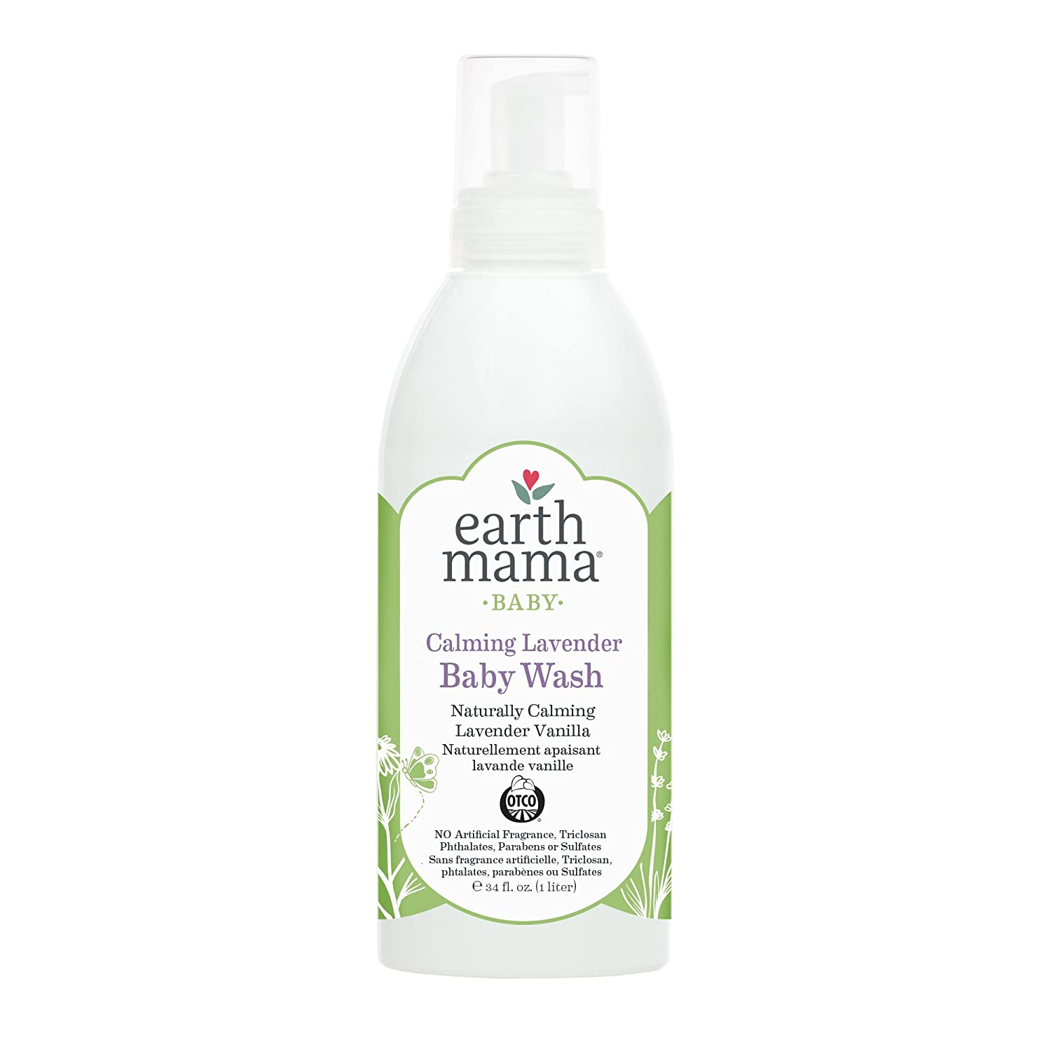 Earth Mama Angel Baby Organic Shampoo and Body Wash, Calming Lavender, 34-Fluid-Ounce