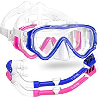 WACOOL Snorkeling Snorkel Diving Scuba Package Set Gear for Kids Youth Junior Anti-Fog Coated Glass with Silicon Mouth…