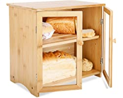 Large Bamboo Bread Box for Kitchen Countertop - Double Layer Breadbox with Clear Front Windows and Cutting Board Lid, Bread S