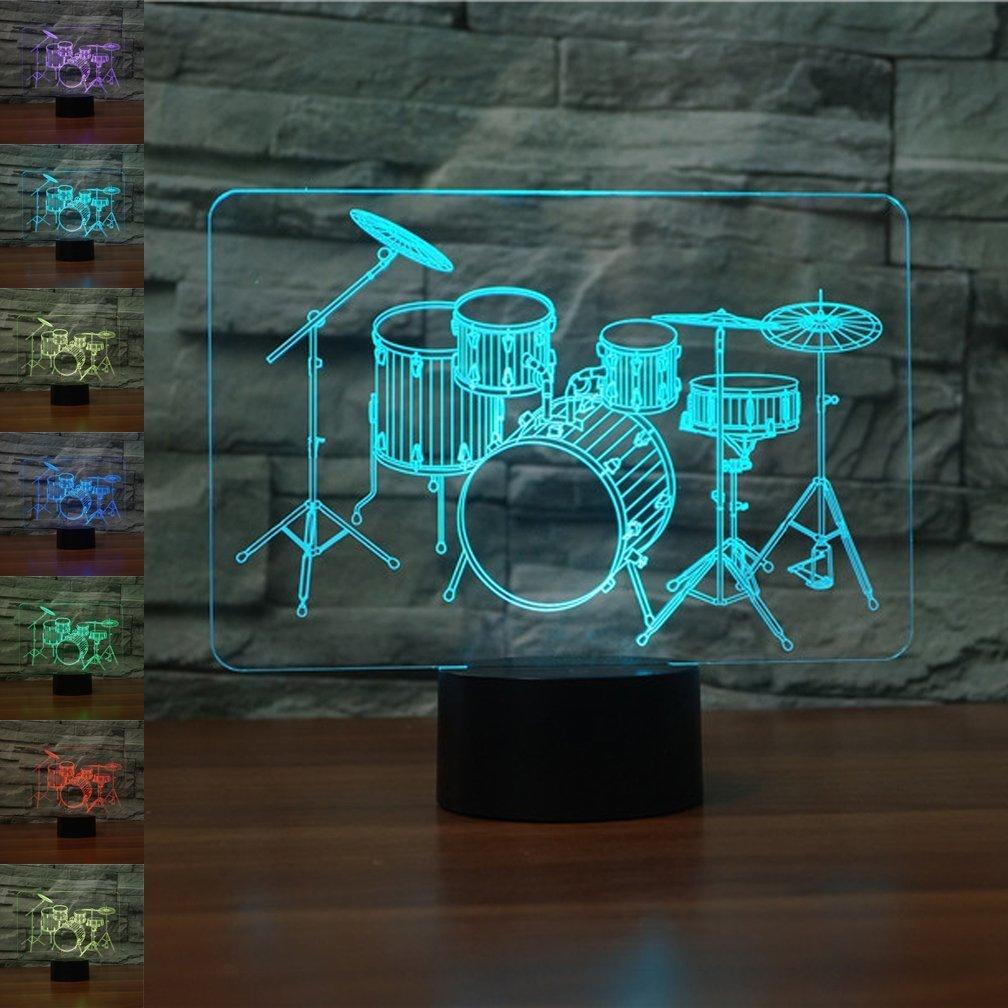 ドラムセット3d Optical Illusion夜ライトランプ7色変更可能おもちゃドラムキットLEDデスク装飾Lamb最高のギフトfor Music Loversファン B07BK3VHDM