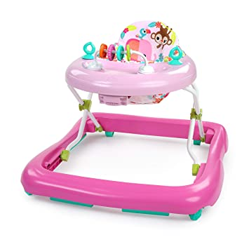Bright Starts Floral Friends Walker with Easy Fold Frame for Storage, Ages 6 Months +