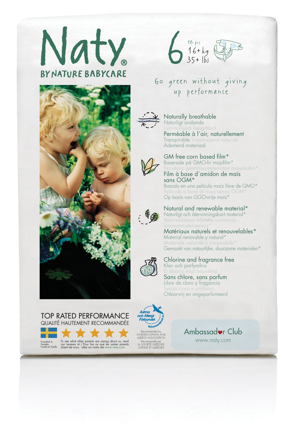 Naty Chlorine-Free ECO Diapers Size 6, 18 Count (pack of 3) = 54 total diapers