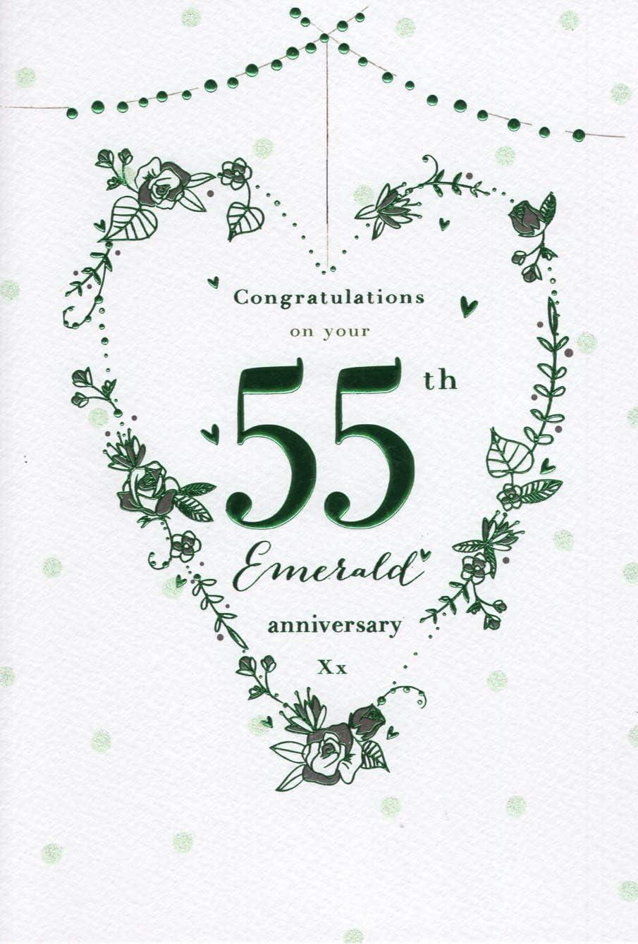 Luxury Emerald Wedding Anniversary Card Personalised Paper Rose Heart Box