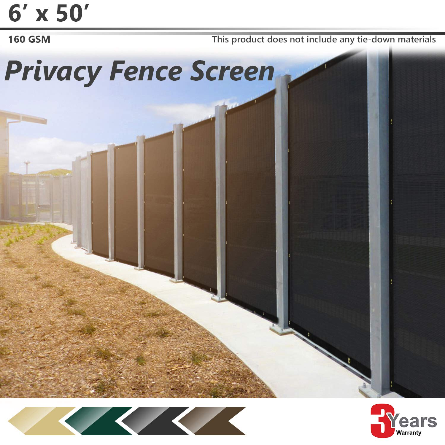 BOUYA Black Privacy Fence Screen 6' x 50' Heavy Duty for Chain-Link Fence Privacy Screen Commercial Outdoor Shade Windscreen Mesh Fabric with Brass Gromment 160 GSM 88% Blockage UV -3 Years Warranty