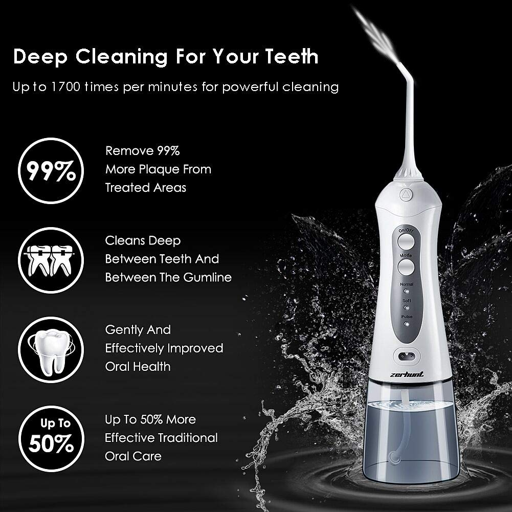 [2018 UPGRADED] Cordless Water Flosser Oral Irrigator - Zerhunt Professional Rechargable Portable Dental Water Jet With 3 Jet Tips For Braces and Teeth Whitening,Travel and Home Use by Zerhunt (Image #3)