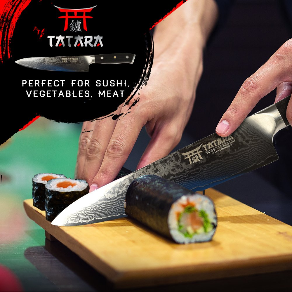 TATARA | Japanese Chef Knife for Sushi 8 inch | Professional Gyuto VG10 Damascus | Perfect For Sushi, Vegetable, Meat Cutting | Comes With Wooden Case