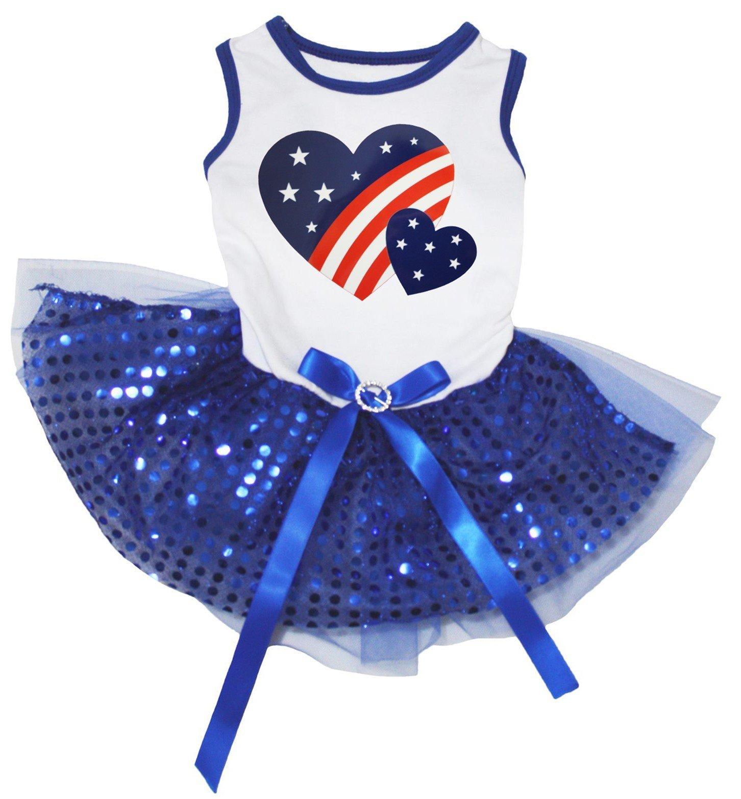 Petitebella USA Twin Heart White Shirt Royal Blue Sequins Tutu Puppy Dog Dress (Medium)
