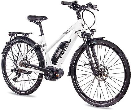 Chrisson - Bicicleta de trekking y ciudad para mujer, 28 pulgadas, E-Actourus, blanco mate, bicicleta eléctrica