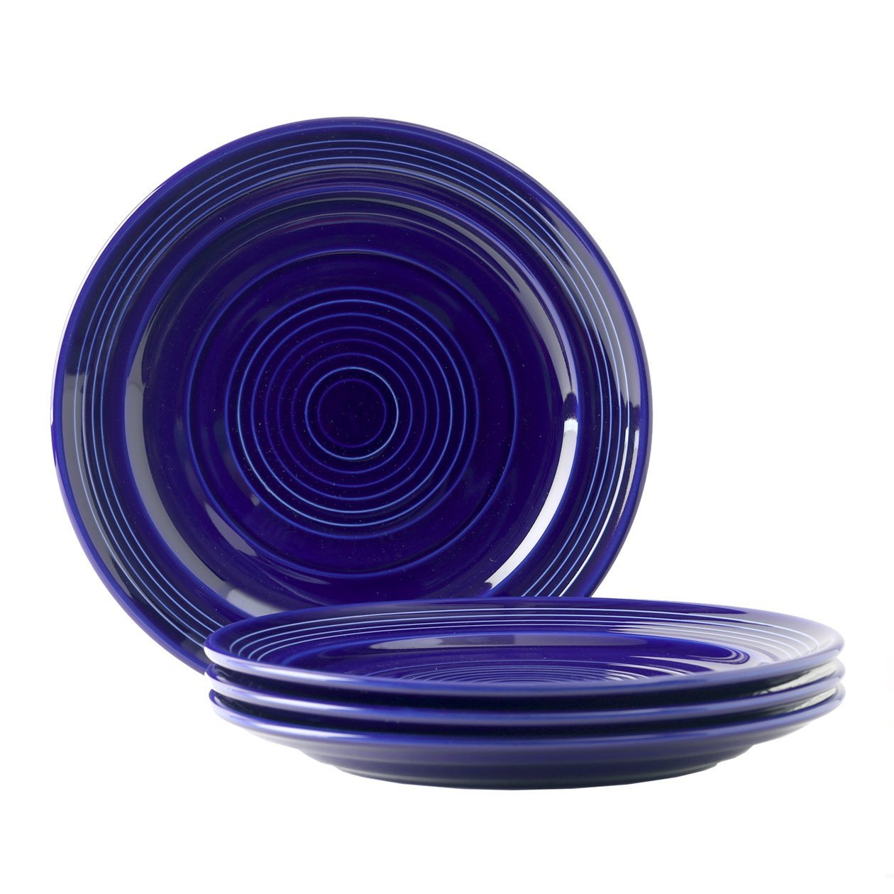 Tuxton Home Concentrix Dinner Plate (Set of 4), 10 1/2'', Cobalt Blue; Heavy Duty; Chip Resistant; Lead and Cadmium Free; Freezer to Oven Safe up to 500F