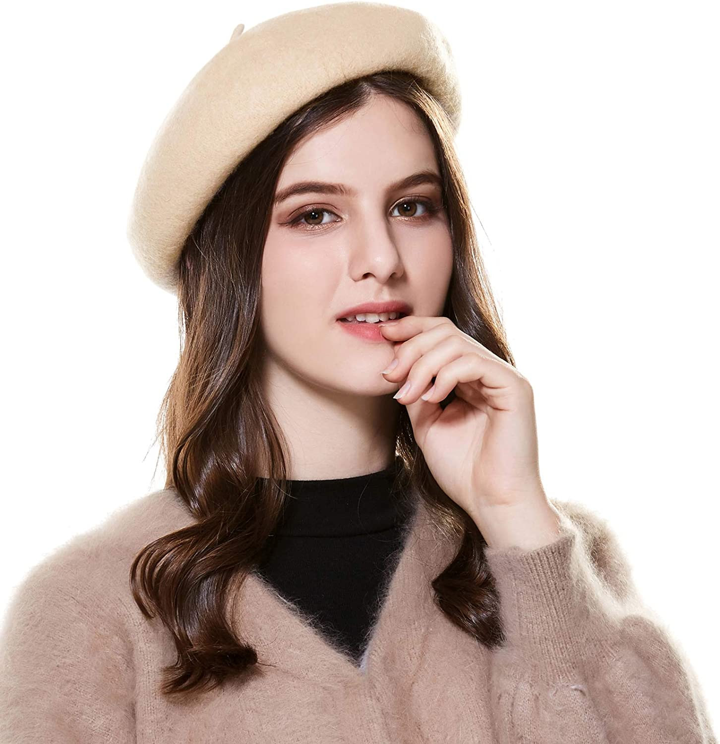 Fashion Girls Hats Wool Beret Brimless Warm Winter Kids Solid Cap French Beanie