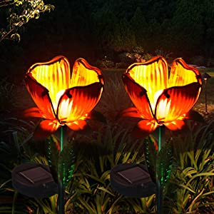 Luxbox Outdoor Solar Lights Decorative 2 Pack for Garden IP65 Solar LED Lights Outdoor Automatically Illuminates Yard Decoration Working 6 Hours