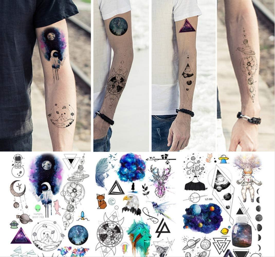 yyyDL Etiqueta engomada impermeable del tatuaje Blue Galaxy ...