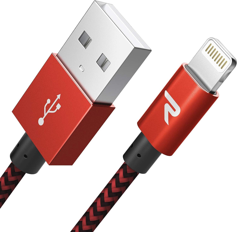 RAMPOW Câble pour iPhone Certifié Apple MFi en Fibre de Nylon Tressé Connecteur Ultra Résistant pour iPhone 11/11 Pro/X/XS/XR/8/8 Plus/7/7 Plus/6s/6s Plus/6/6 Plus/SE/5s/5-1m/3.3ft - Rouge et Noir