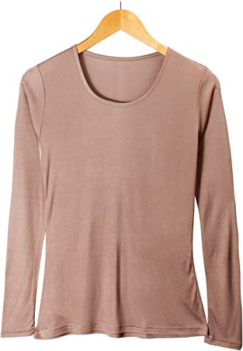 CHARIXI Women's 100% Silk Undershirts Long Sleeve Crew Neck