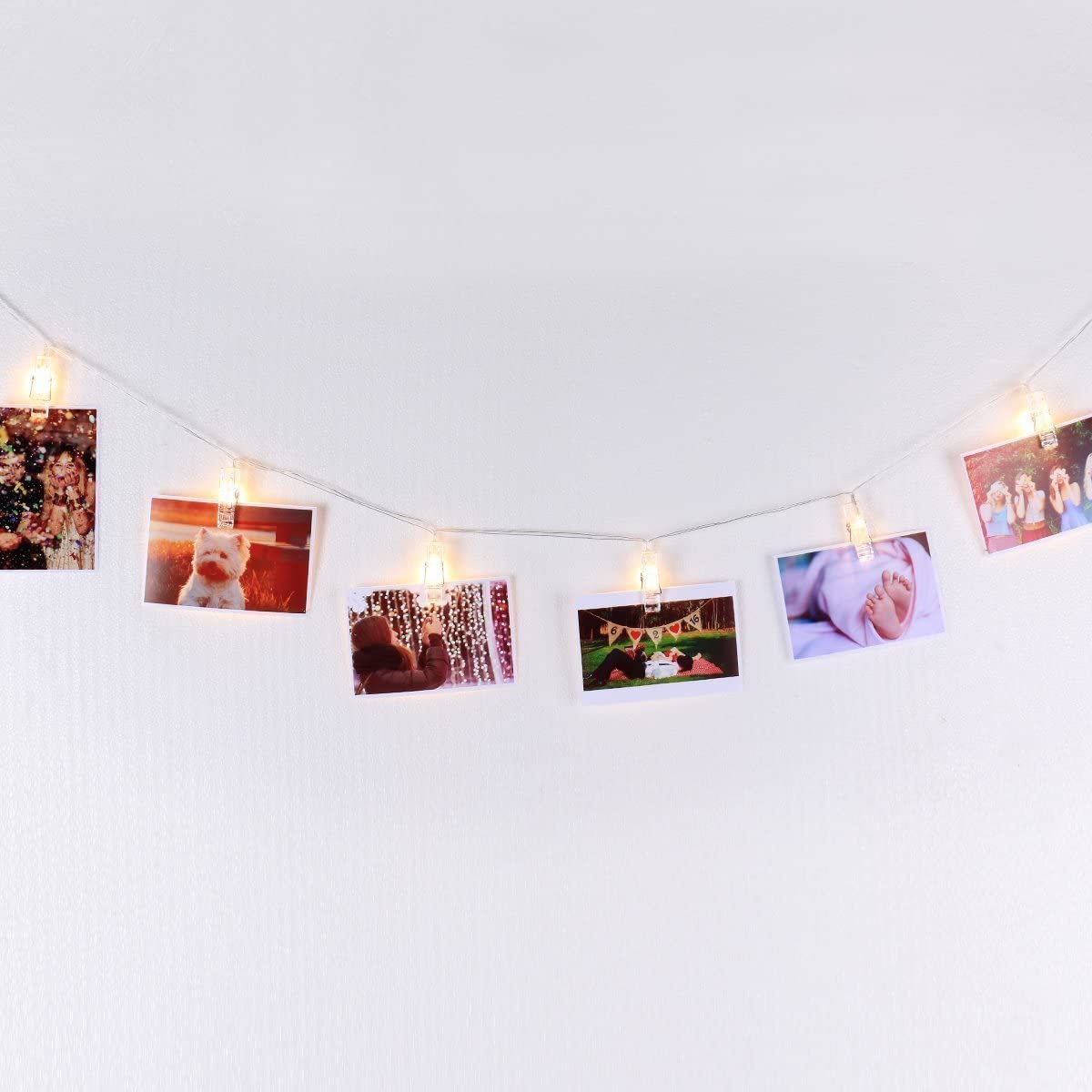 LED Photo Display String Lights with Timer Automatically ON/Off Warm White 15ft/4.5m for Hanging Pictures Photos Cards and Notes USB Powered, Photo Banner, Wall Decor Essential by Mojocraft