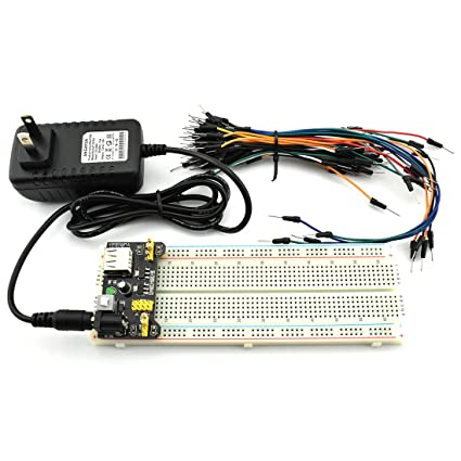 HJ Garden Electronic Component Power Supply Module Assorted Kit for  Arduino, Raspberry Pi, STM32, UNO, MEGA2560 830P Breadboard + Power Module  +