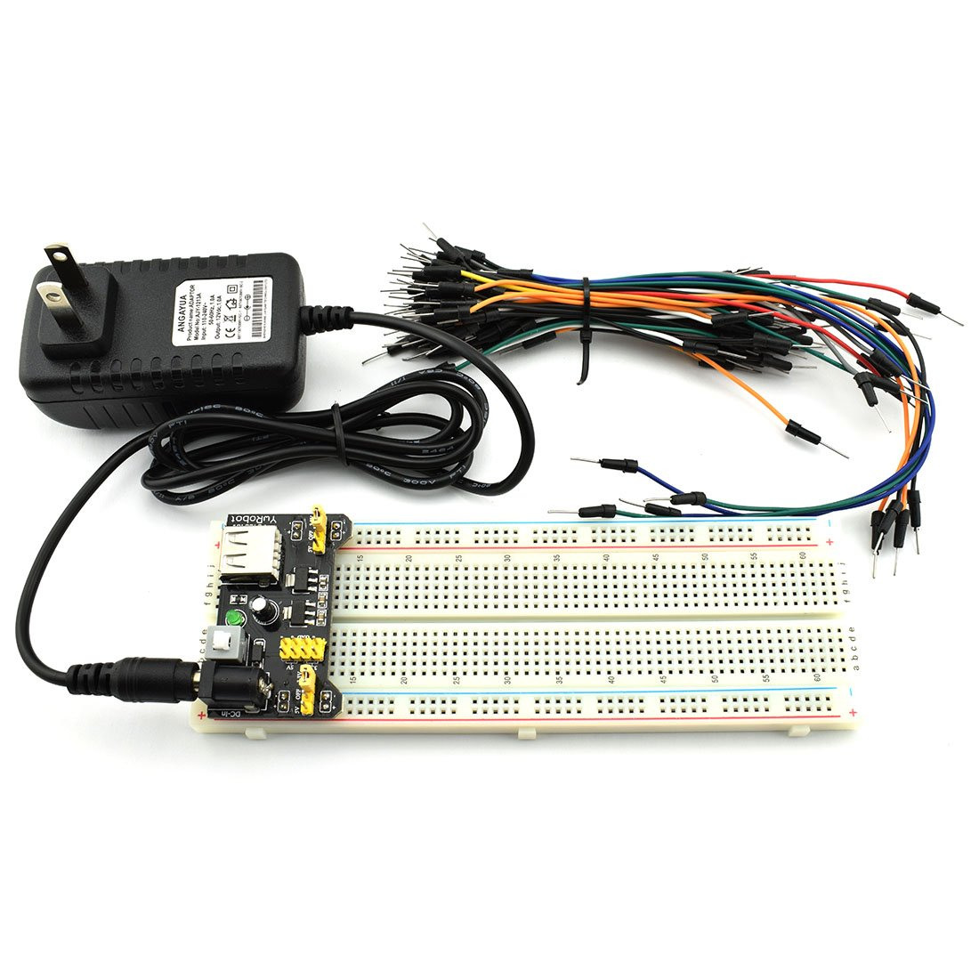 HJ Garden Electronic Component Power Supply Module Assorted Kit for Arduino, Raspberry Pi, STM32, UNO, MEGA2560 830P Breadboard + Power Module + Jumper + 12V 1A Adaptor