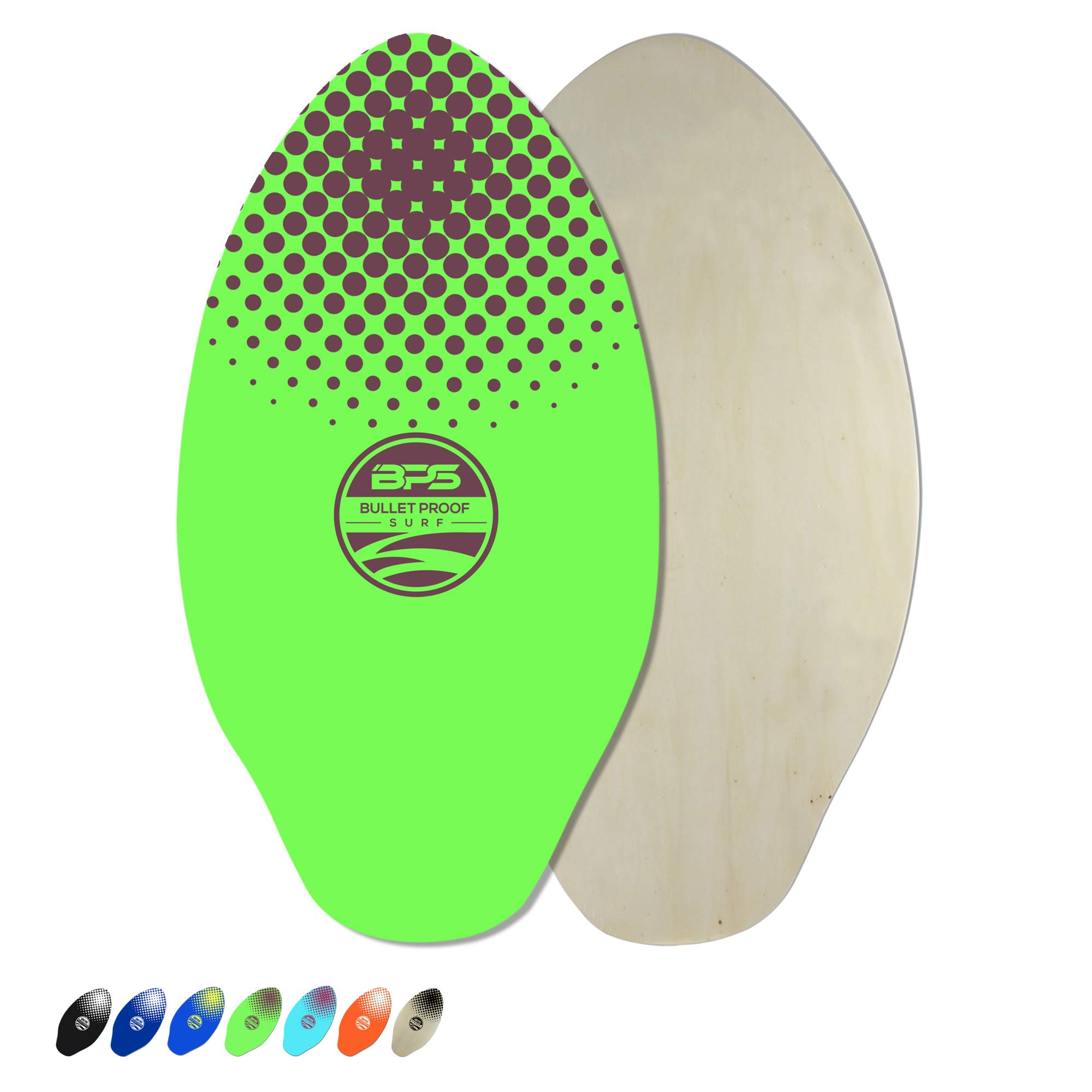 BPS 30'' Skimboard - Epoxy Coated Wooden Skimboard for Beach - for Adults and Kids - for Beginner to Advanced (Green with Purple Accent) by BPS